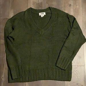 VS Pink v-neck dark green sweater sz Medium